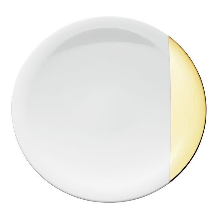 Тарелка обеденная Д 27 см.,  белая с золотым краем