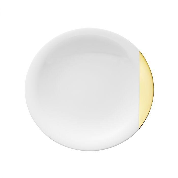 Тарелка дессертная Д 21,5 см., белая с золотым краем