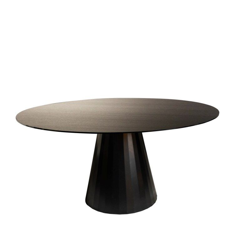 RONDA DINING TABLE DIA120CM VENEERED SMOKED OAK, АРТИКУЛ FU7-W4/BR, DOME DECO